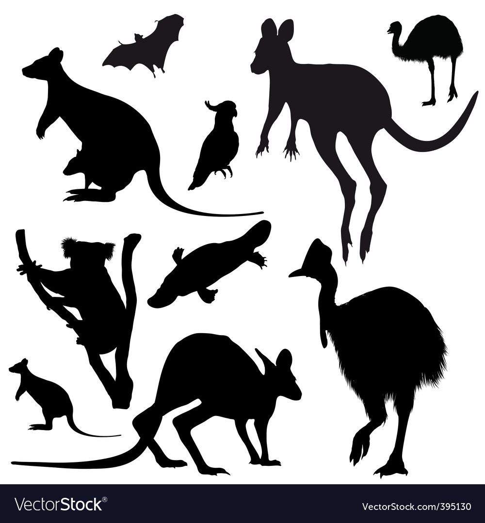 Australian animals silhouettes vector | Price: 1 Credit (USD $1)