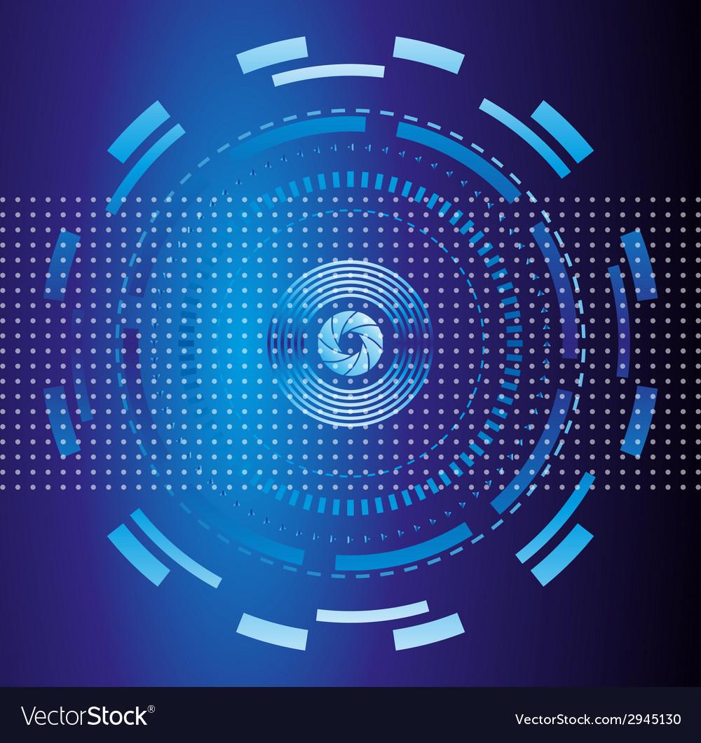 Blue abstract tech circles background design vector