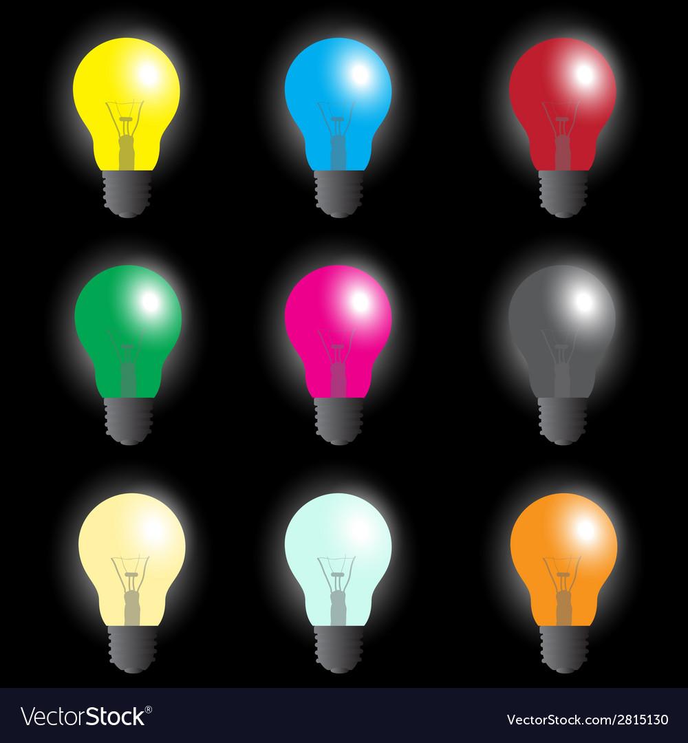 Color light bulbs - light source eps10 vector | Price: 1 Credit (USD $1)