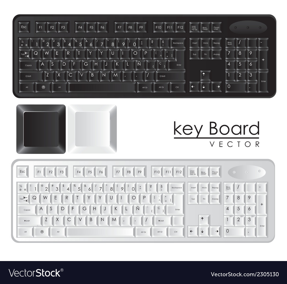 Computer keyboards black and white with keys vector | Price: 1 Credit (USD $1)