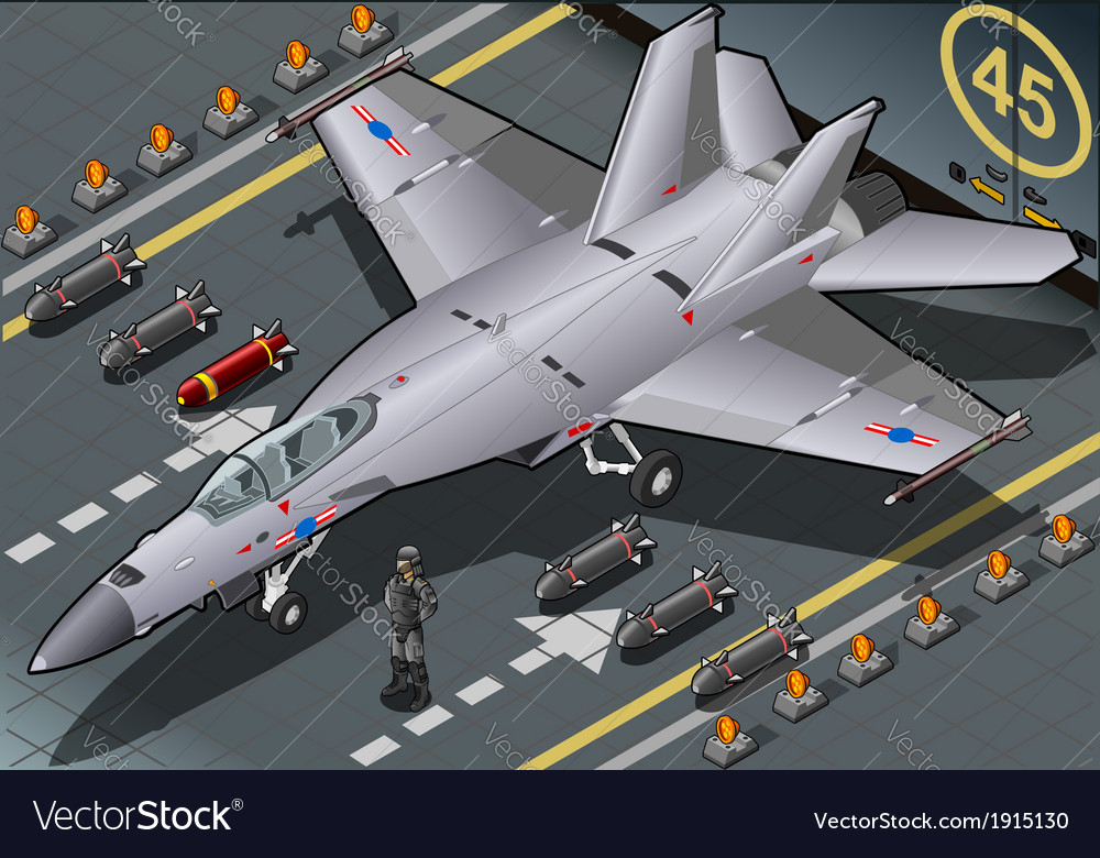 Isometric fighter bomber landed in front view vector | Price: 1 Credit (USD $1)