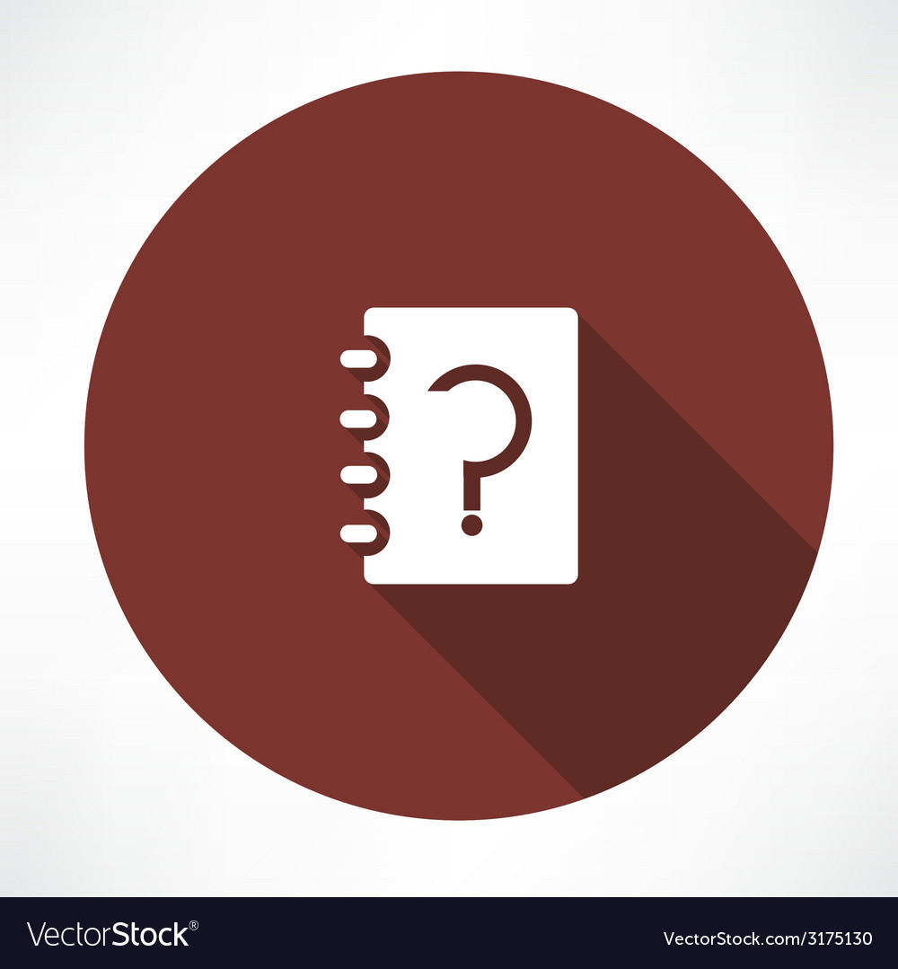 Notebook whith question vector | Price: 1 Credit (USD $1)