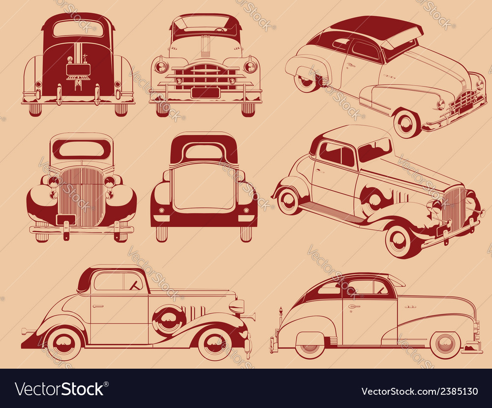 Old car silhouette in several positions vector | Price: 1 Credit (USD $1)