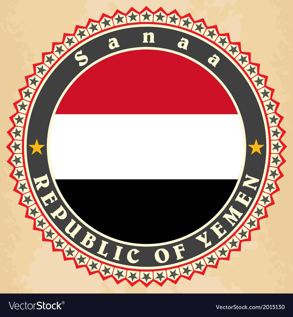 Vintage label cards of yemen flag vector | Price: 1 Credit (USD $1)