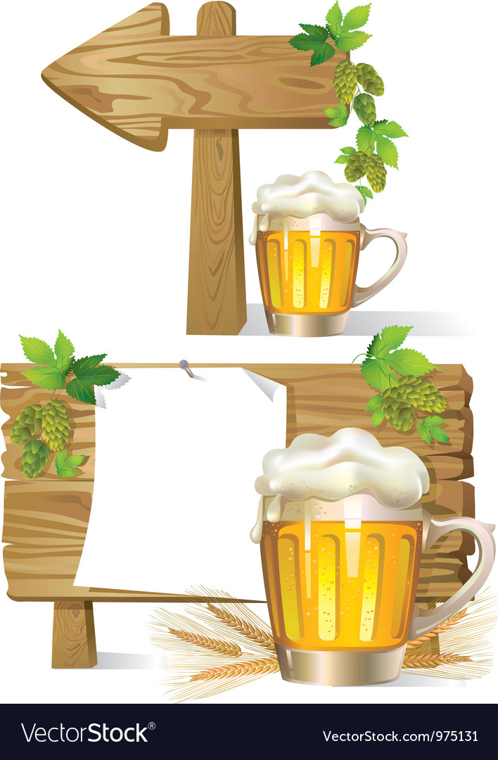 Beer wooden board sign vector | Price: 3 Credit (USD $3)