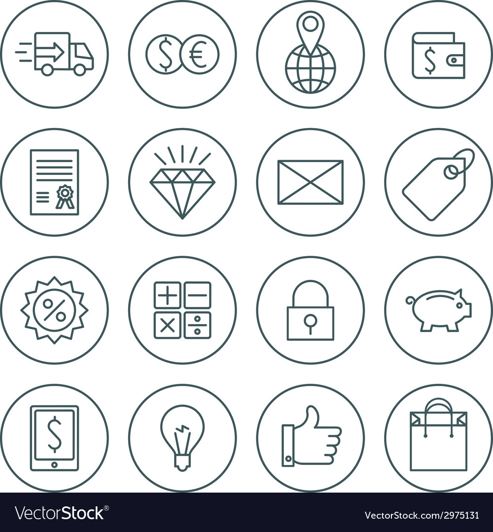 Business and commerce flat design icons set vector | Price: 1 Credit (USD $1)