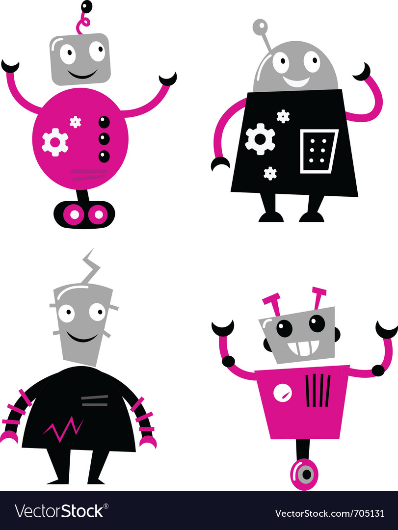 Cute retro robots vector | Price: 1 Credit (USD $1)