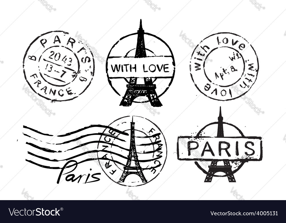 Eiffel tower stamp vector