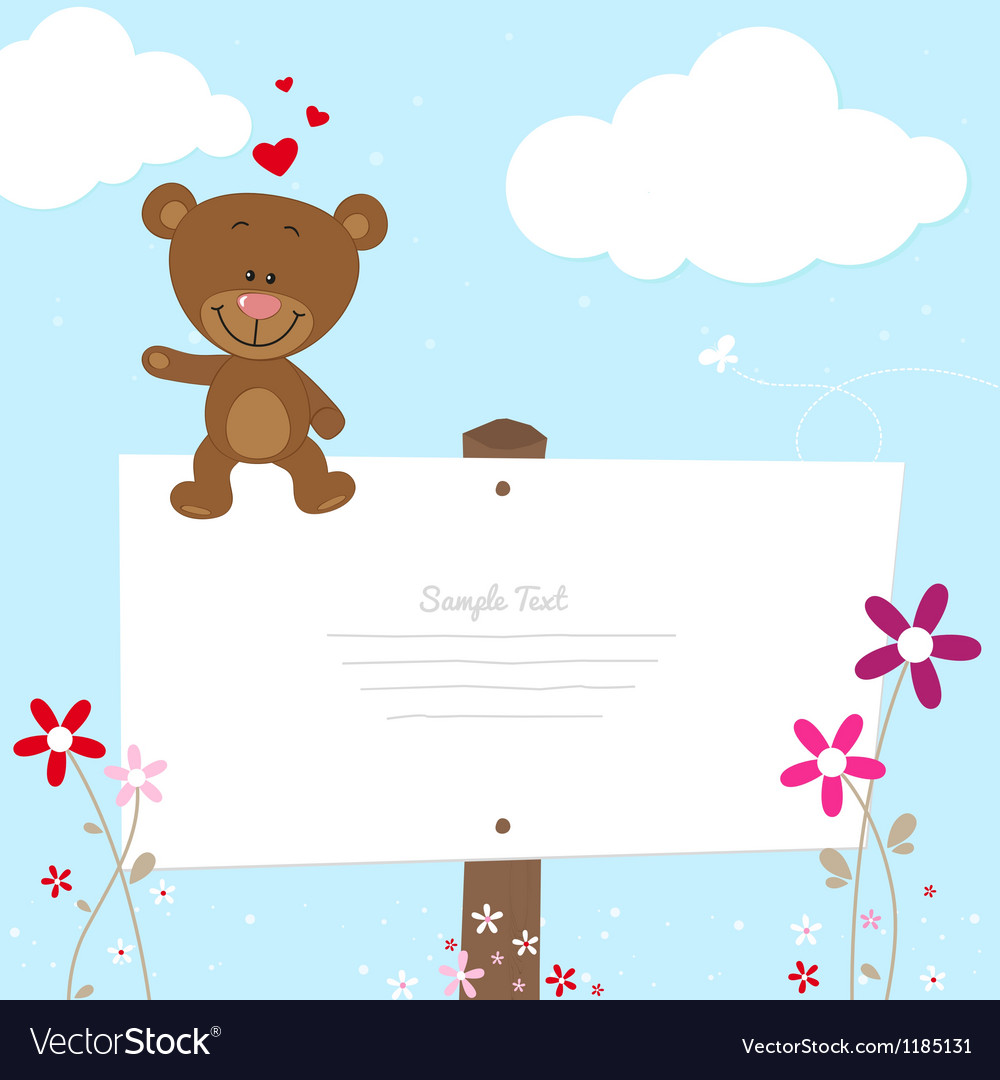 Lovely bear greeting card vector | Price: 1 Credit (USD $1)