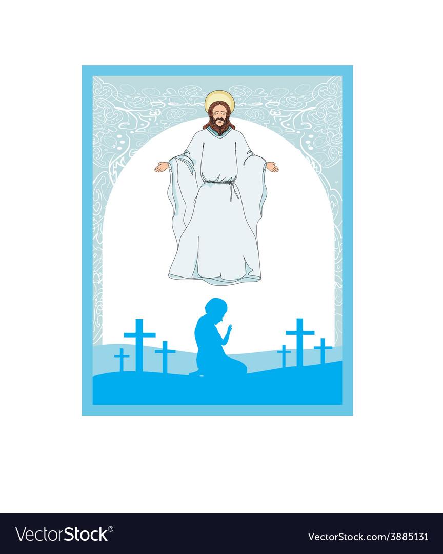 Man prays to jesus vector | Price: 1 Credit (USD $1)