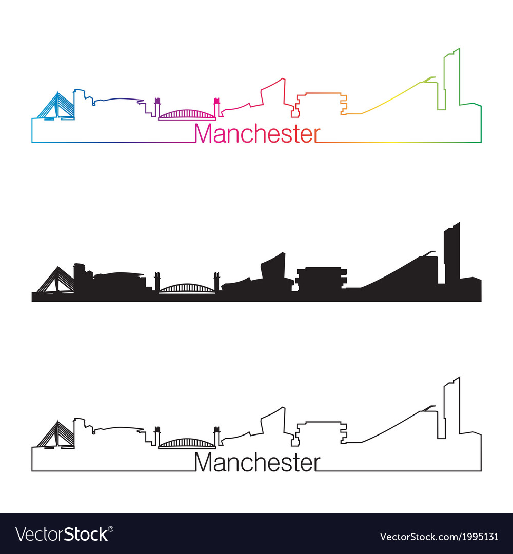 Manchester skyline linear style with rainbow vector | Price: 1 Credit (USD $1)