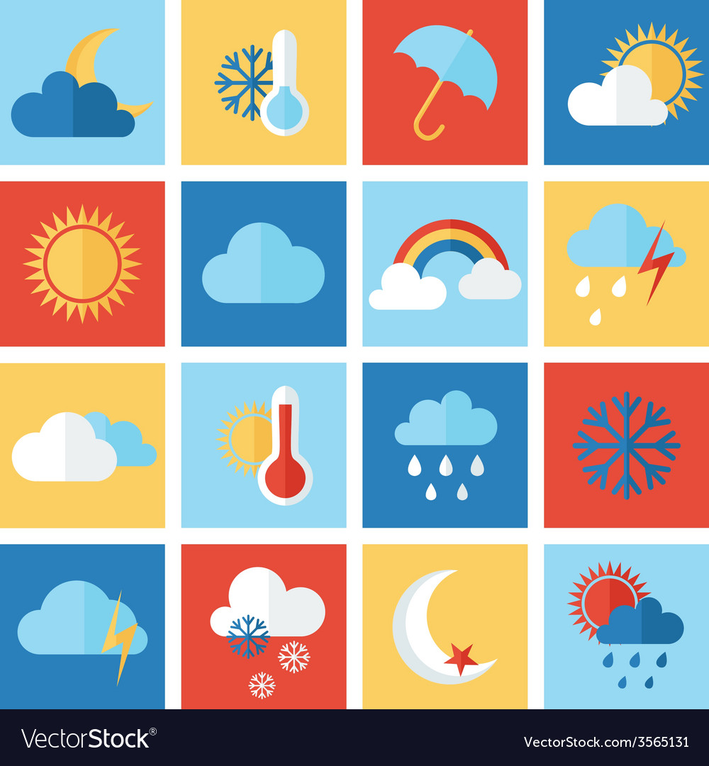Set of weather icons vector | Price: 1 Credit (USD $1)