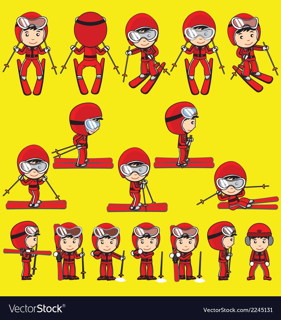 Ski player cartoon vector | Price: 1 Credit (USD $1)