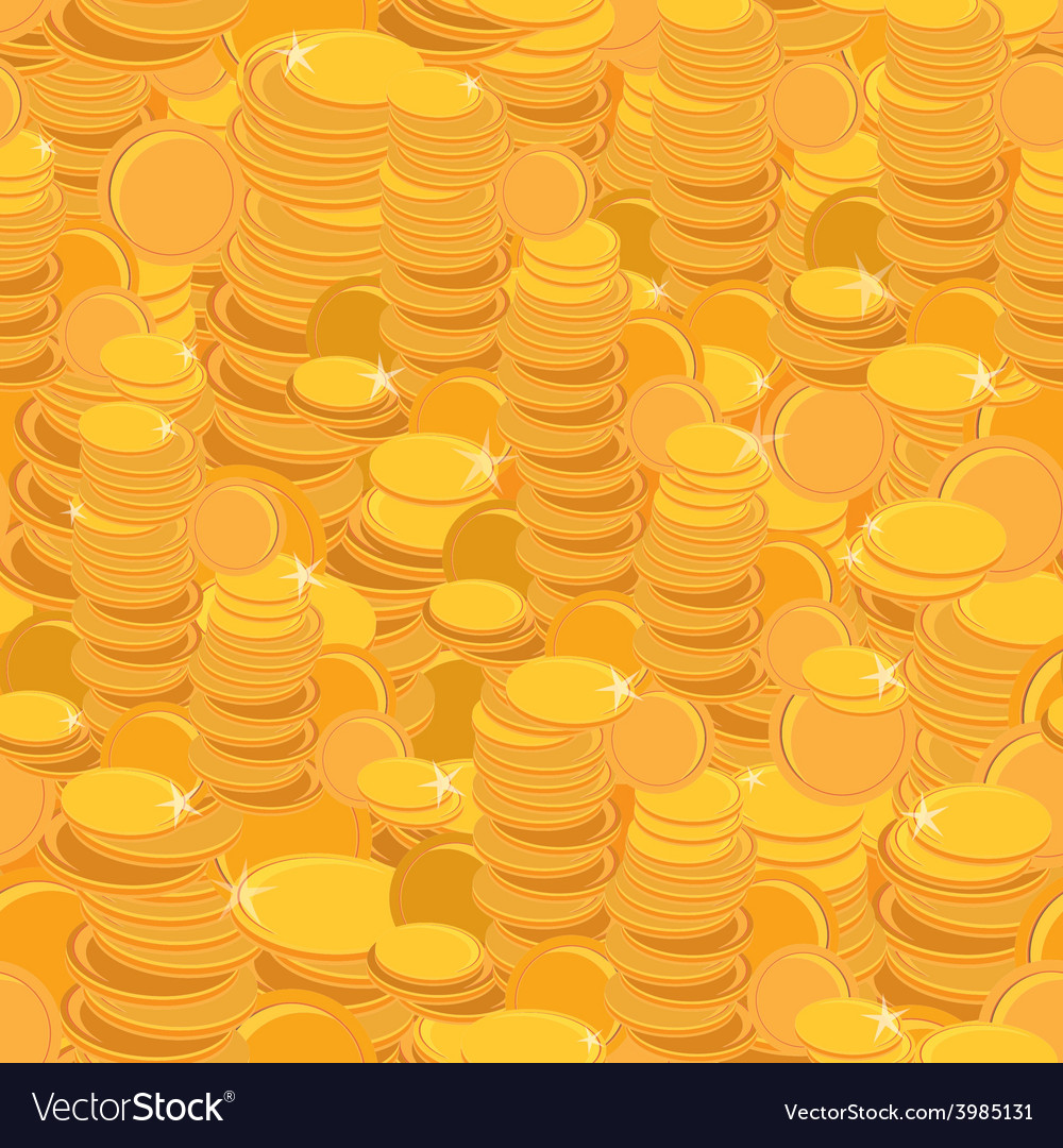 Texture with golden coins seamless pattern vector | Price: 1 Credit (USD $1)