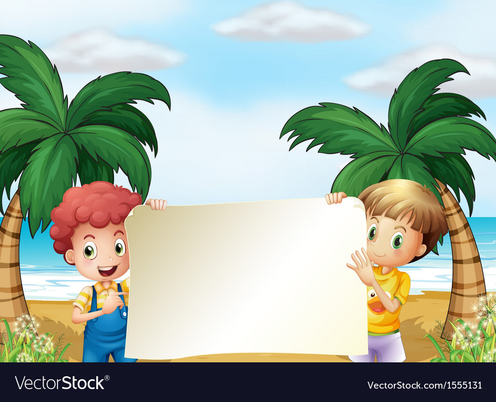 Two male kids holding an empty signboard vector | Price: 1 Credit (USD $1)