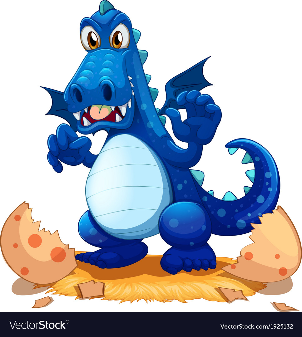 A newly hatched blue dragon vector | Price: 3 Credit (USD $3)
