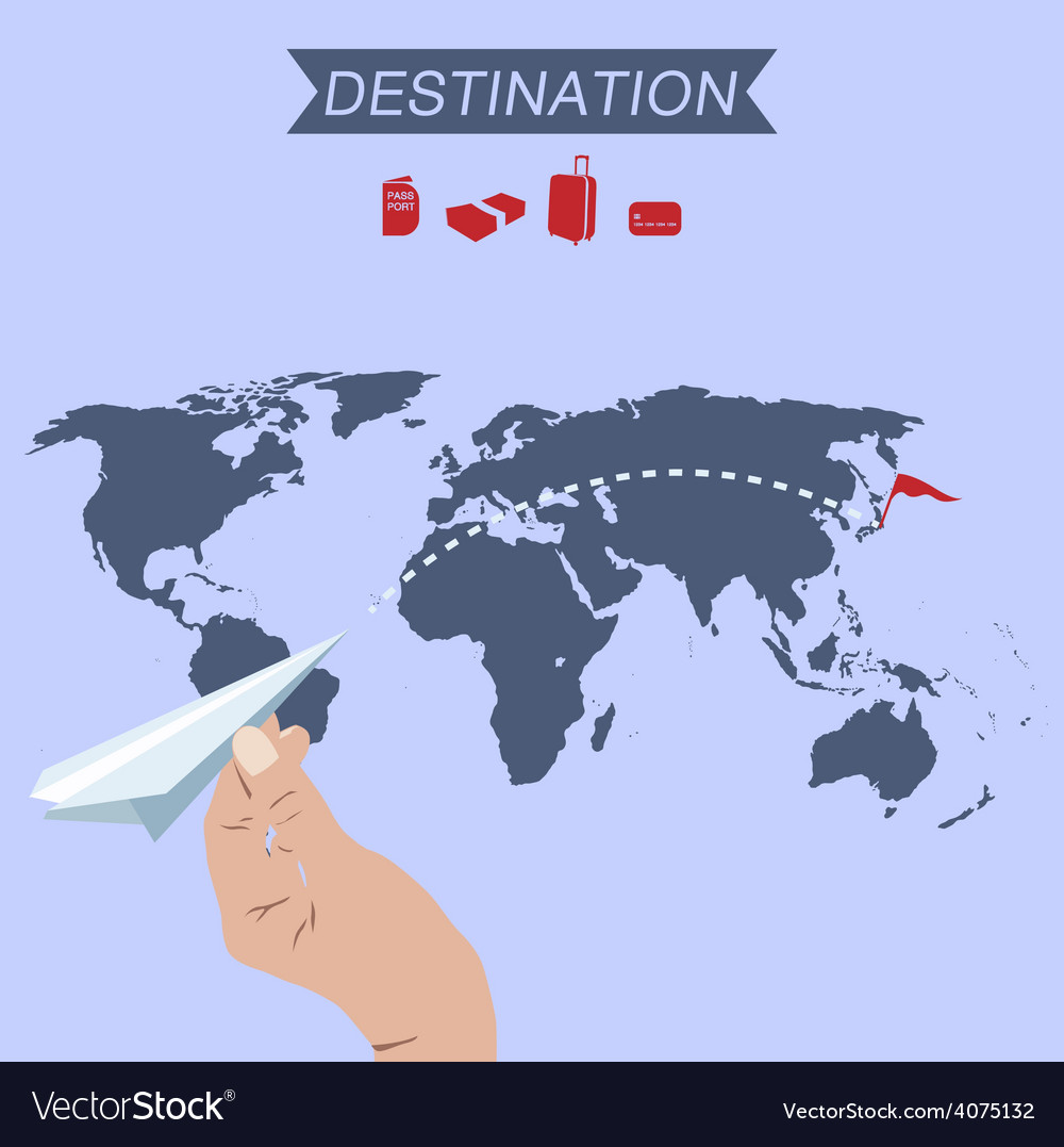 Destination paper plane on world map vector | Price: 1 Credit (USD $1)