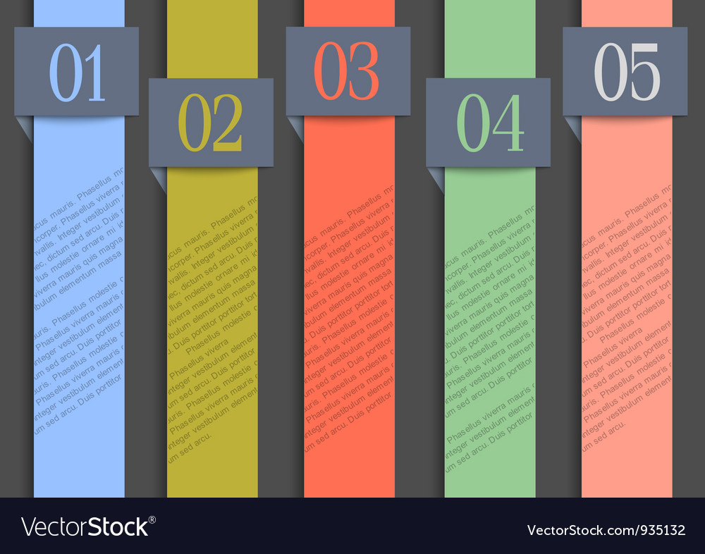 Paper numbered banners in retro colors vector | Price: 3 Credit (USD $3)
