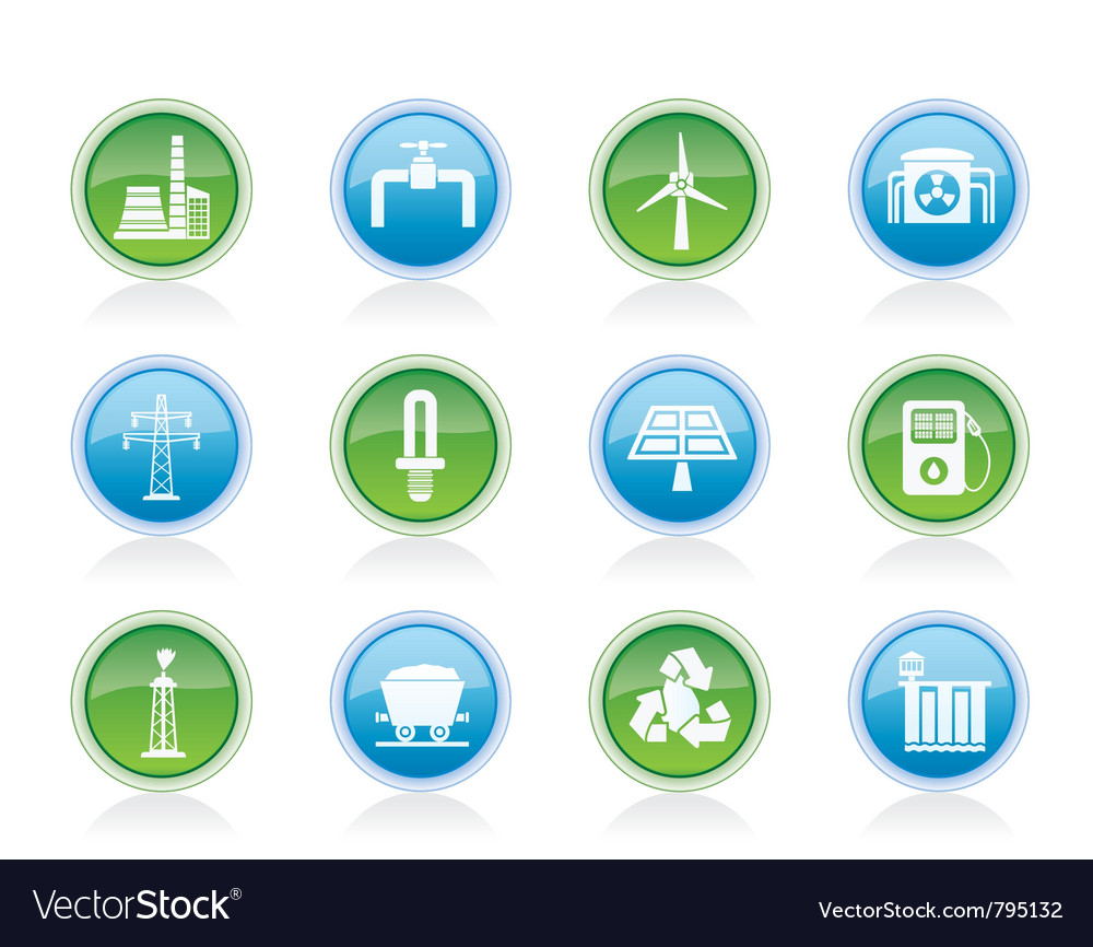 Power and electricity industry icons vector | Price: 1 Credit (USD $1)