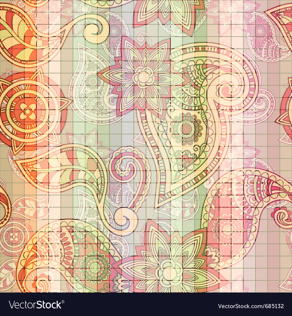 Seamless tile paisley pattern vector | Price: 1 Credit (USD $1)