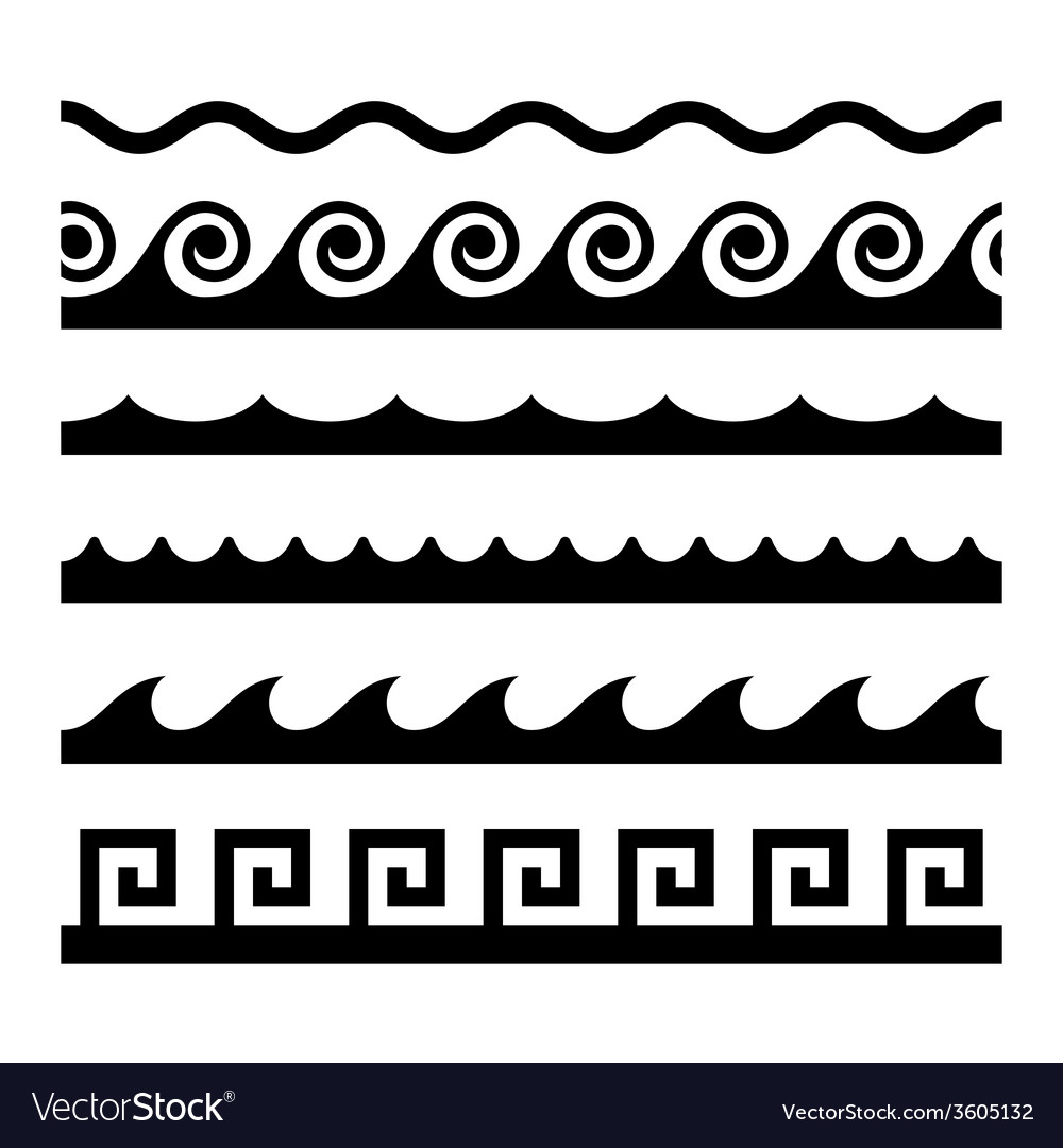 Seamless wave pattern set template vector | Price: 1 Credit (USD $1)