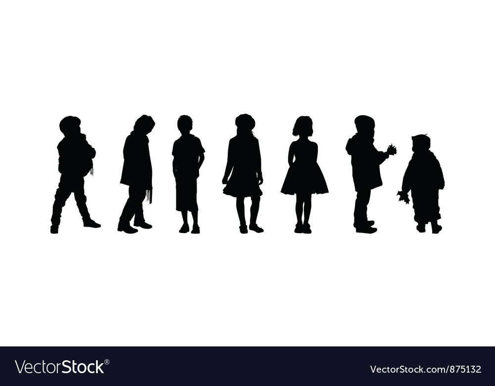 The silhouettes of boys and girls of preschool age vector | Price: 1 Credit (USD $1)