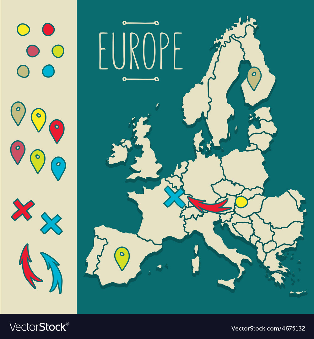 Vintage hand drawn europe travel map with pins vector | Price: 1 Credit (USD $1)