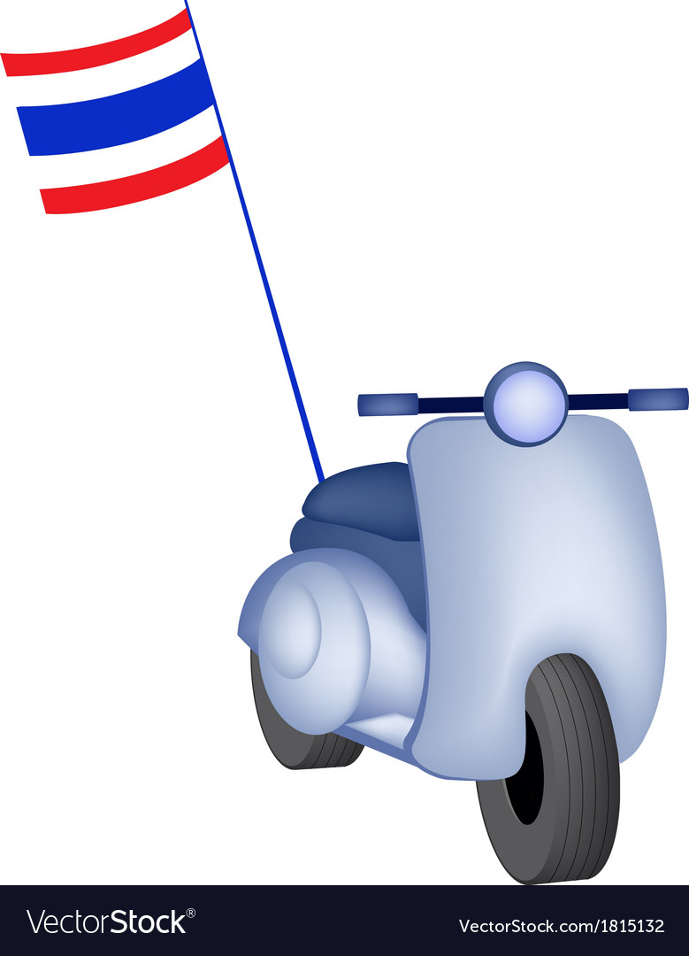 Vintage scooter with thai flag on white background vector | Price: 1 Credit (USD $1)