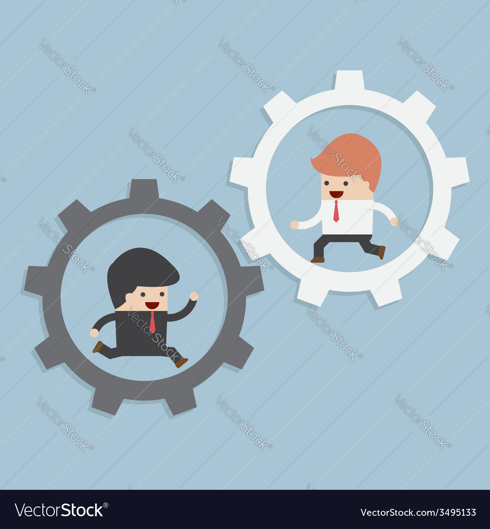 Businessmen running in gear vector | Price: 1 Credit (USD $1)