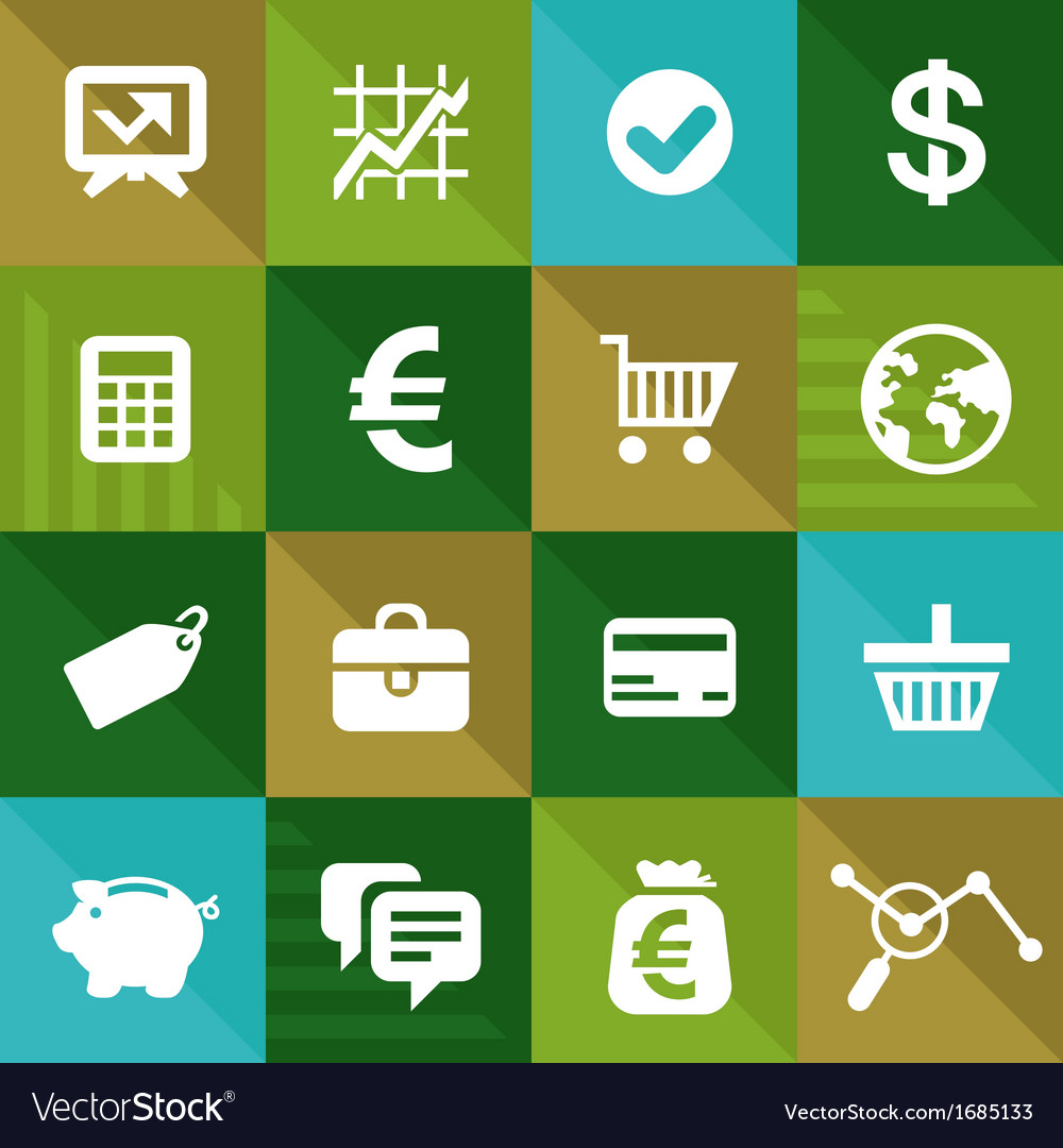 Finance and business icons in flat style vector | Price: 1 Credit (USD $1)