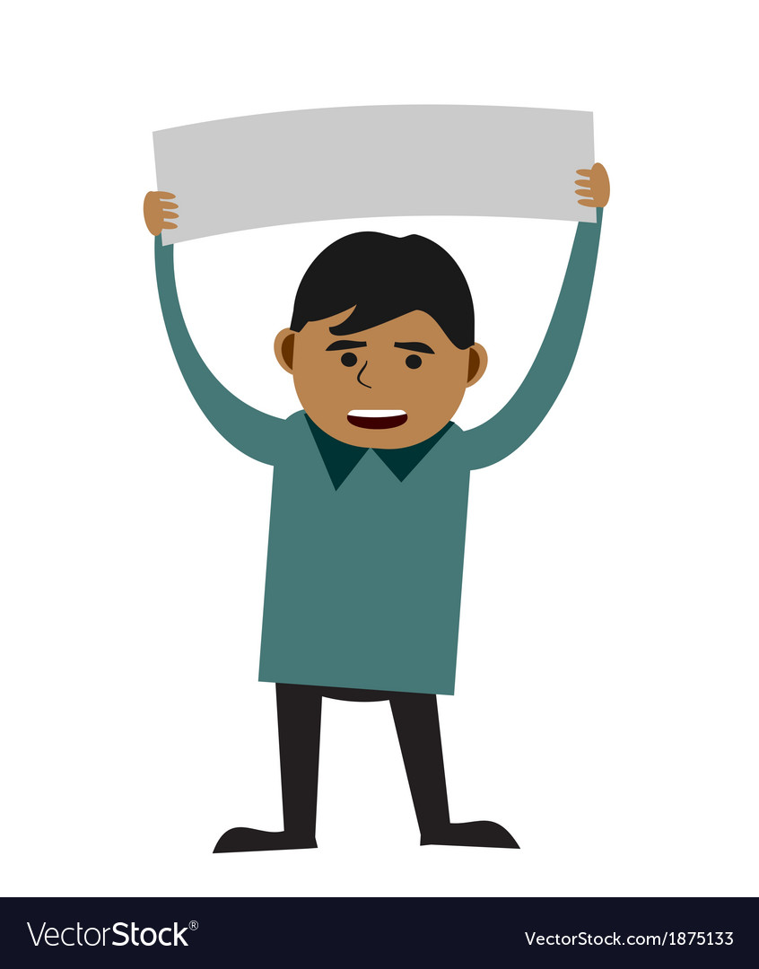 Man holding blank sign vector | Price: 1 Credit (USD $1)