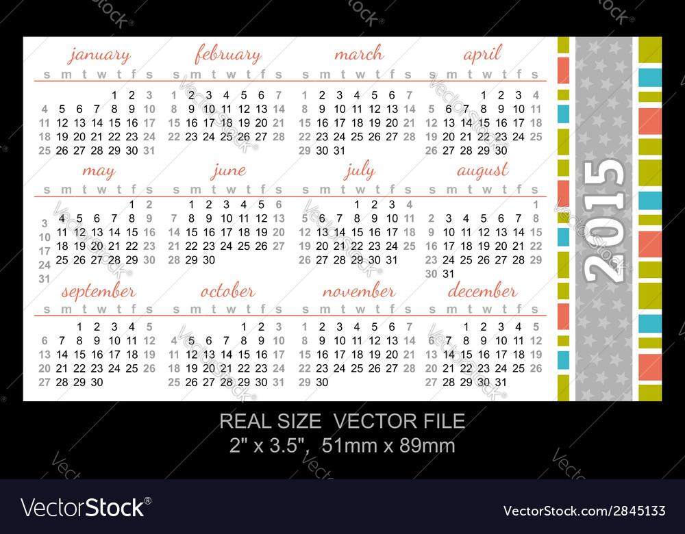 Pocket calendar 2015 start on sunday vector | Price: 1 Credit (USD $1)