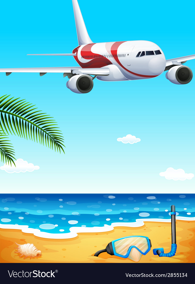 A beach with an airplane uphigh vector | Price: 3 Credit (USD $3)