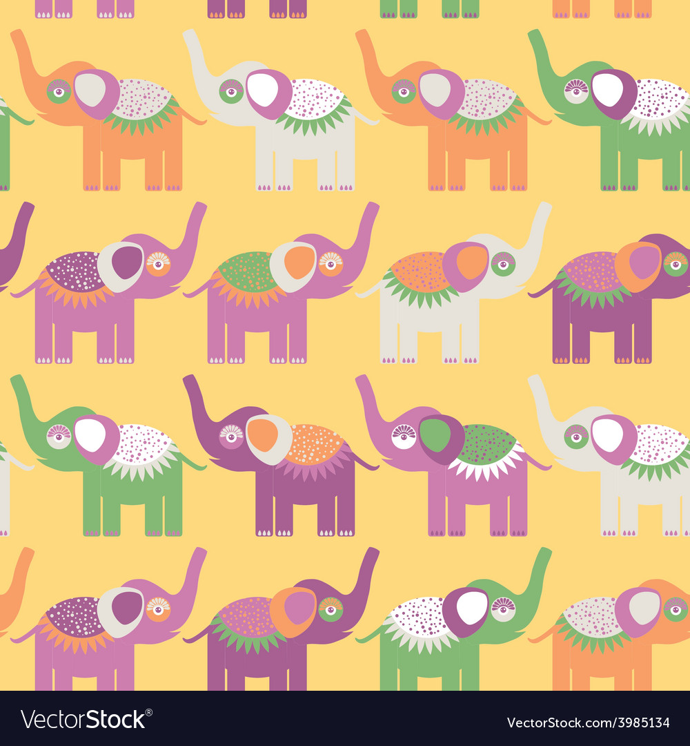 Cheerful seamless pattern with elephants purple vector | Price: 1 Credit (USD $1)