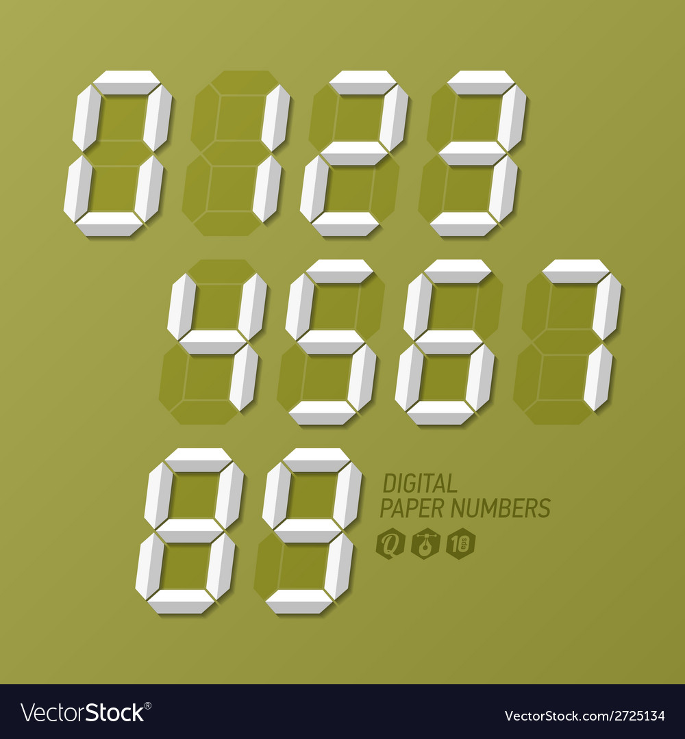 Digital paper numbers set vector | Price: 1 Credit (USD $1)