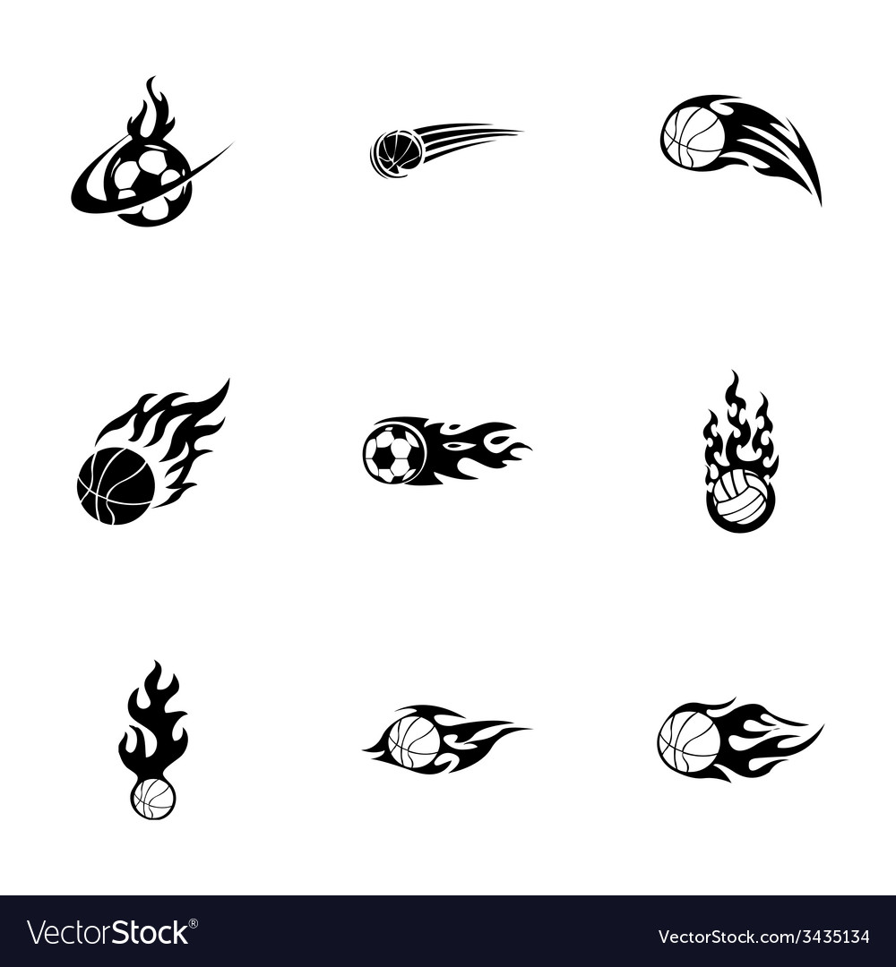 Fire sport balls icons set vector | Price: 1 Credit (USD $1)