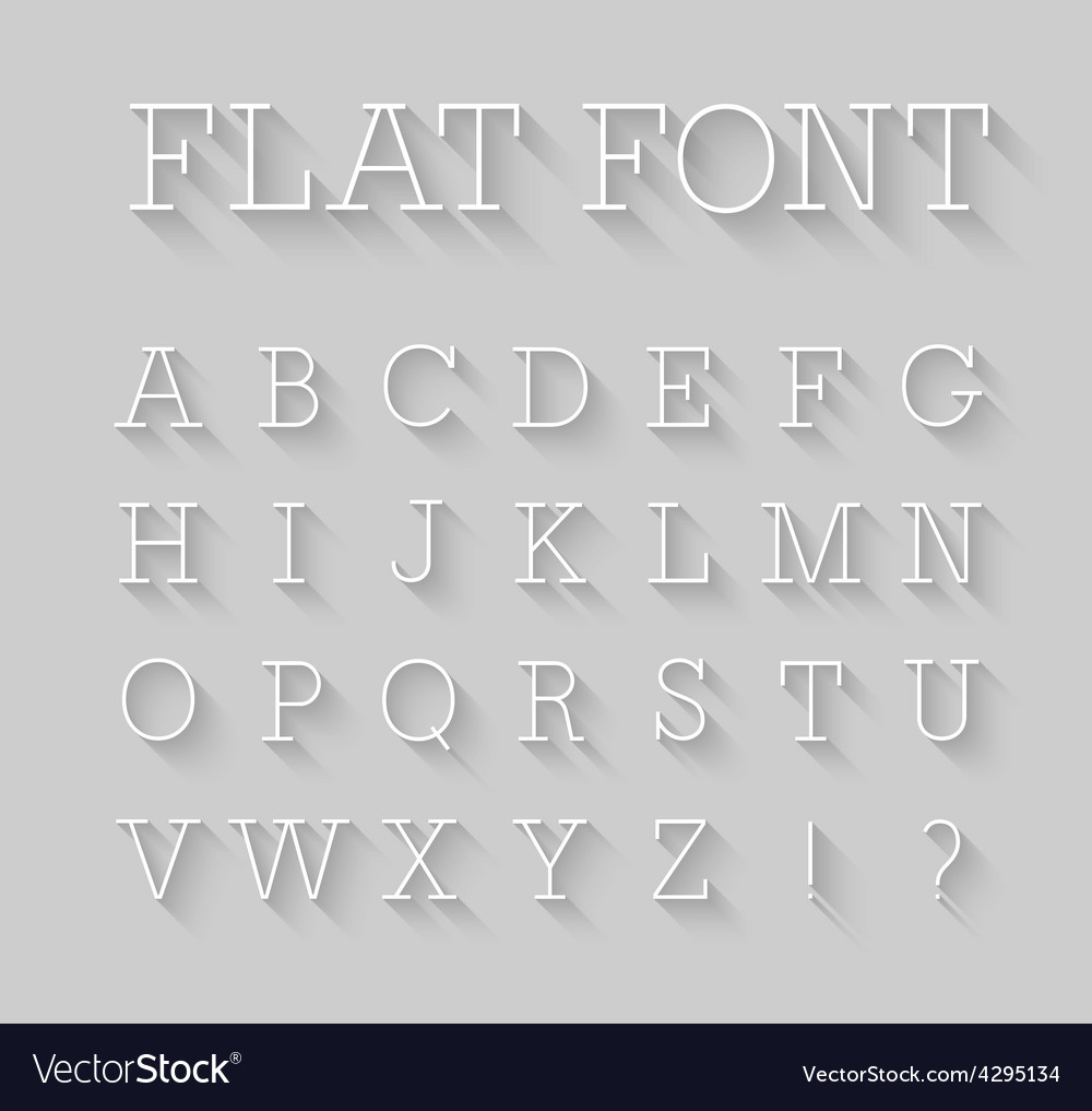 Flat font with shadow effect vector | Price: 1 Credit (USD $1)