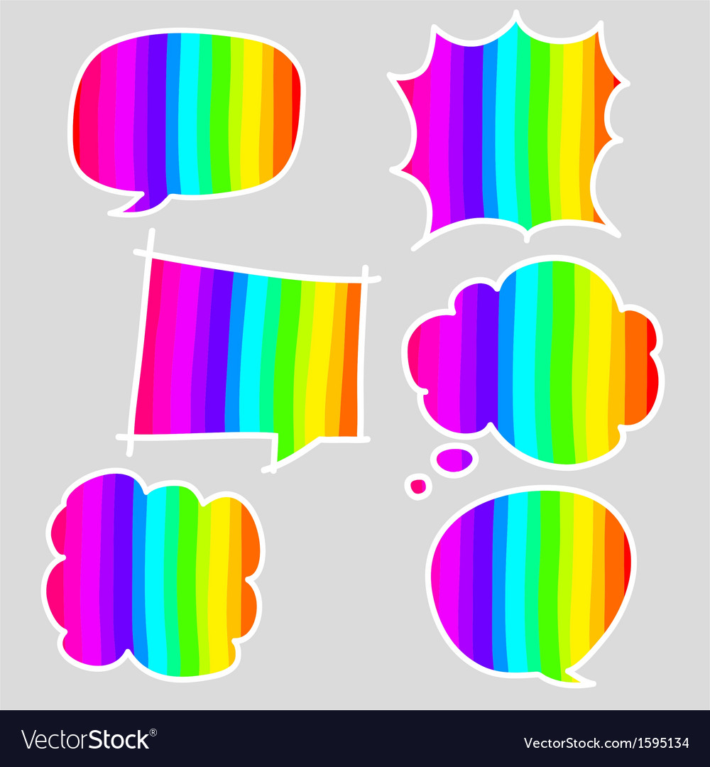 Hand-drawn colorful speech bubbles vector | Price: 1 Credit (USD $1)