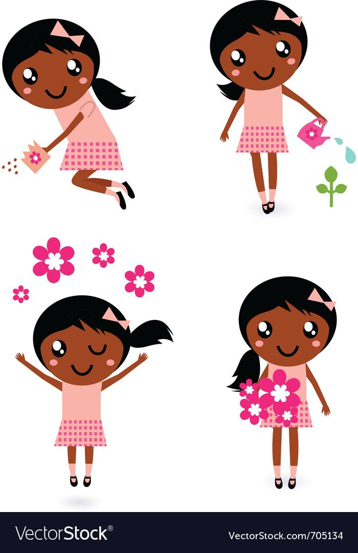 Little cute gardener girl vector | Price: 1 Credit (USD $1)