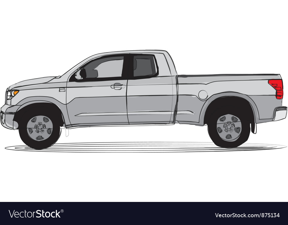 Pick-up truck side view vector | Price: 1 Credit (USD $1)
