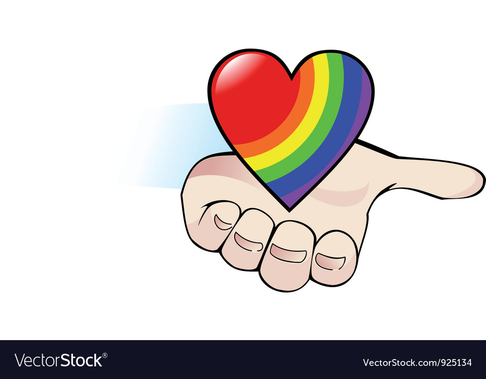 Rainbow heart in the palm vector | Price: 1 Credit (USD $1)