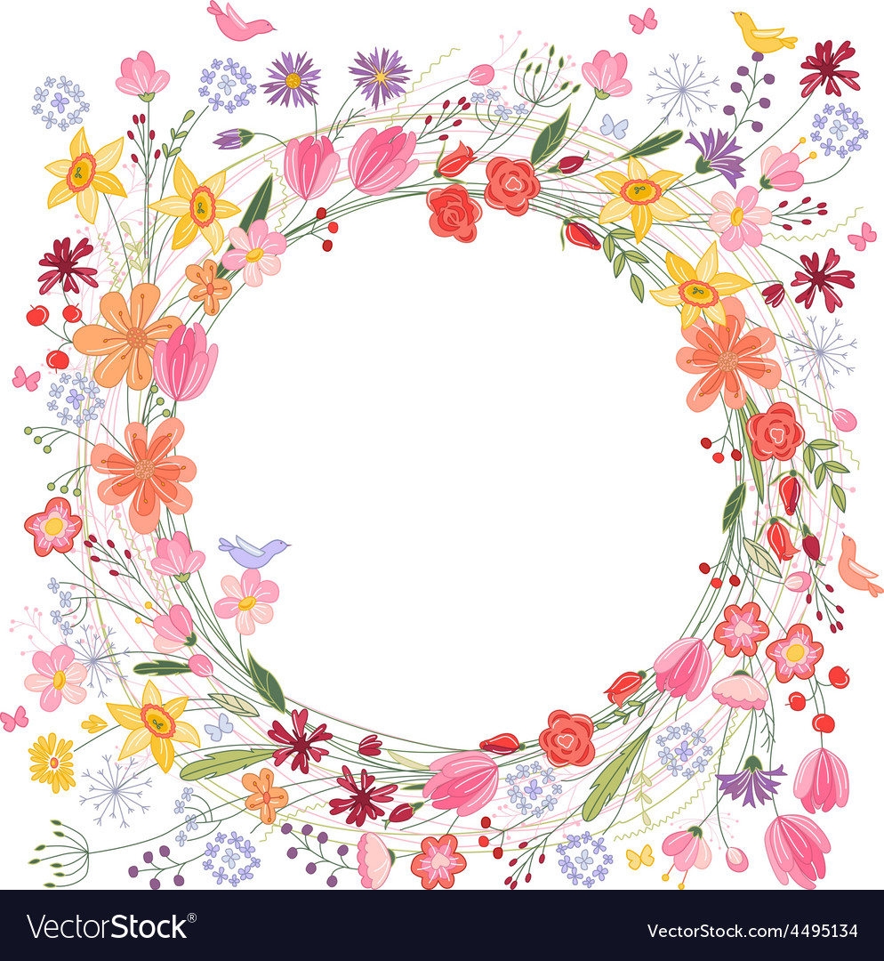Vintage round frame with contour field flowers on vector | Price: 1 Credit (USD $1)