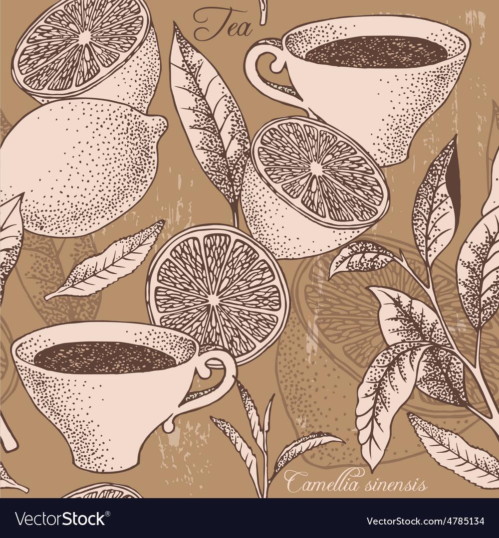 Vintage tea and lemon seamless background vector