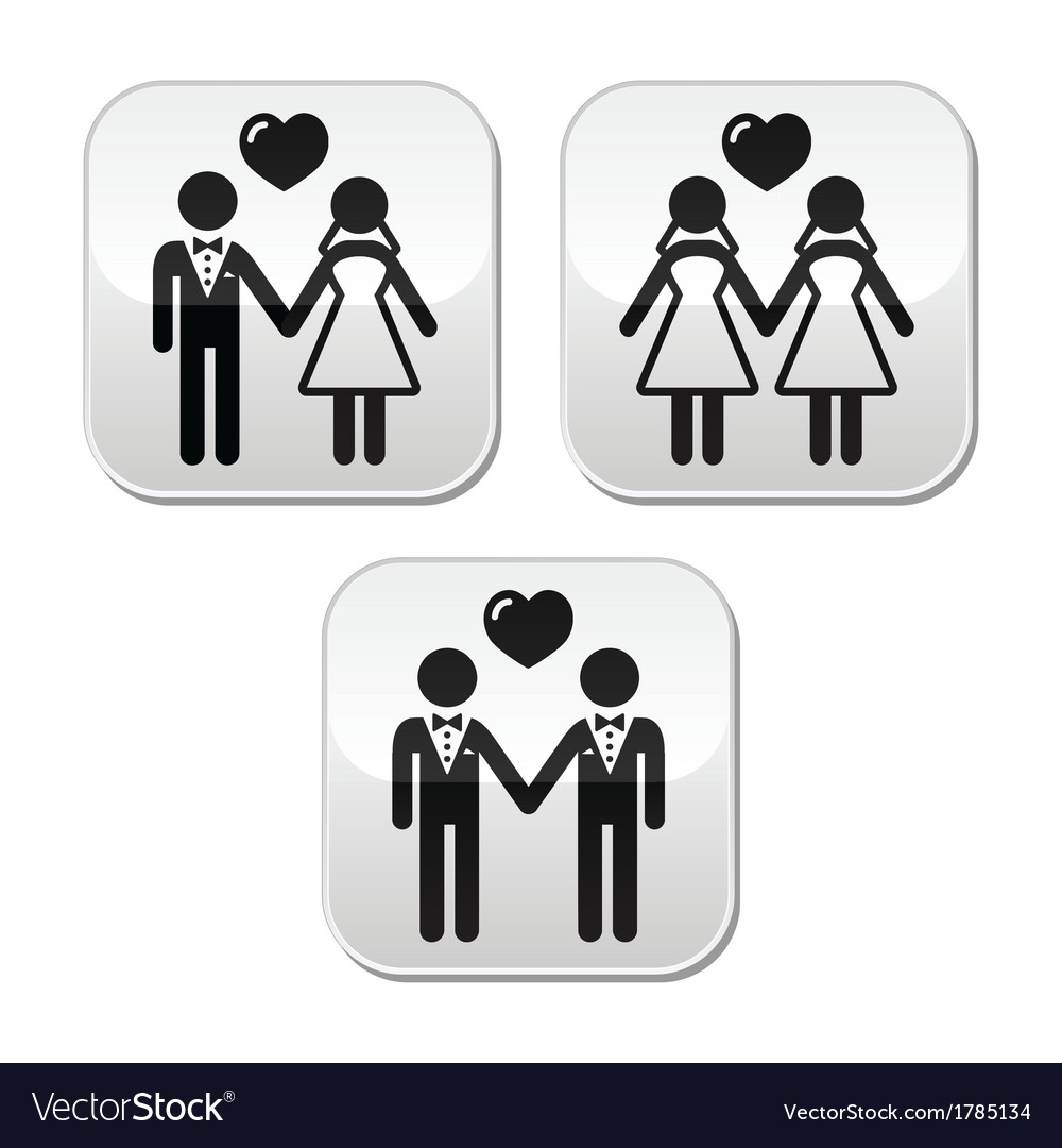 Wedding married hetero and gay couple buttons vector | Price: 1 Credit (USD $1)
