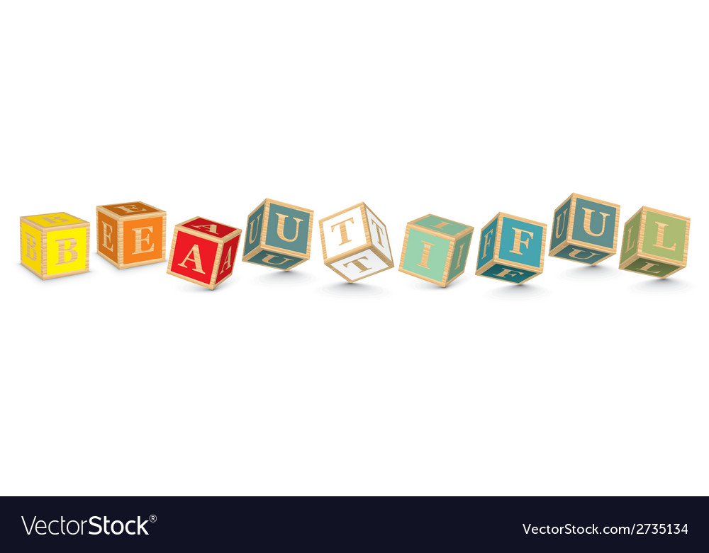 Word beautiful written with alphabet blocks vector | Price: 1 Credit (USD $1)