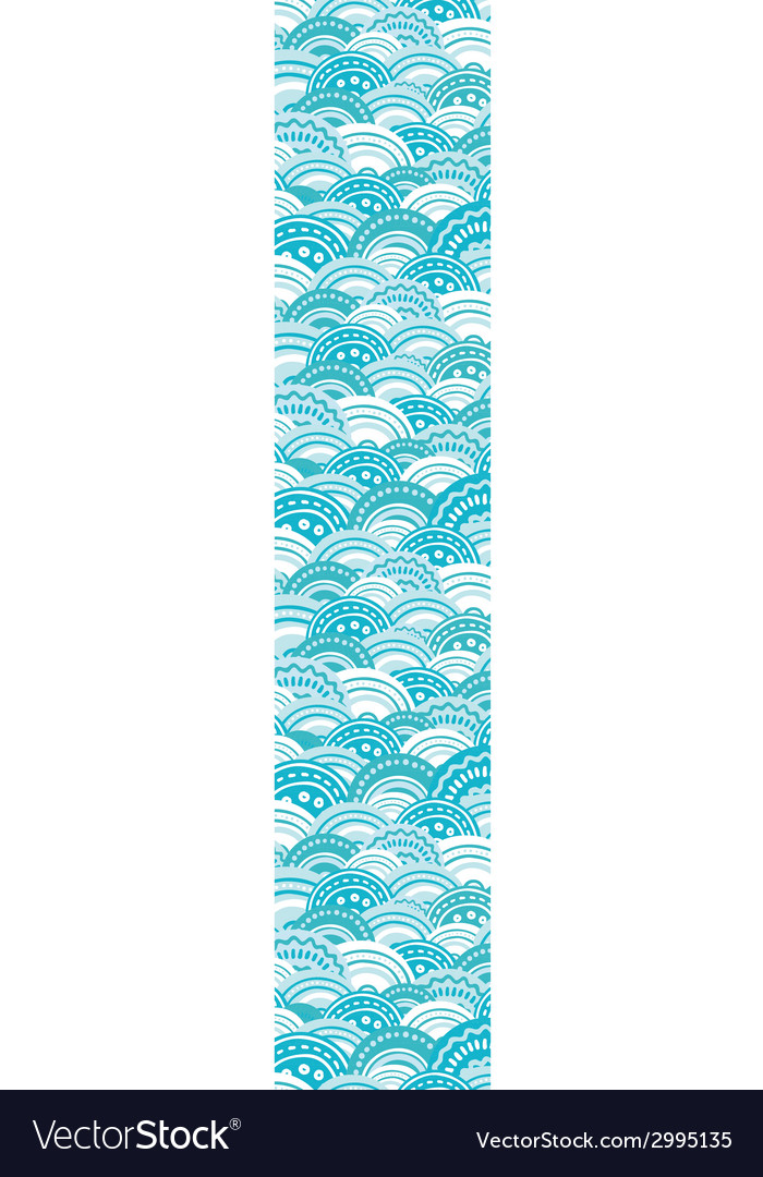 Abstract blue waves vertical border seamless vector | Price: 1 Credit (USD $1)