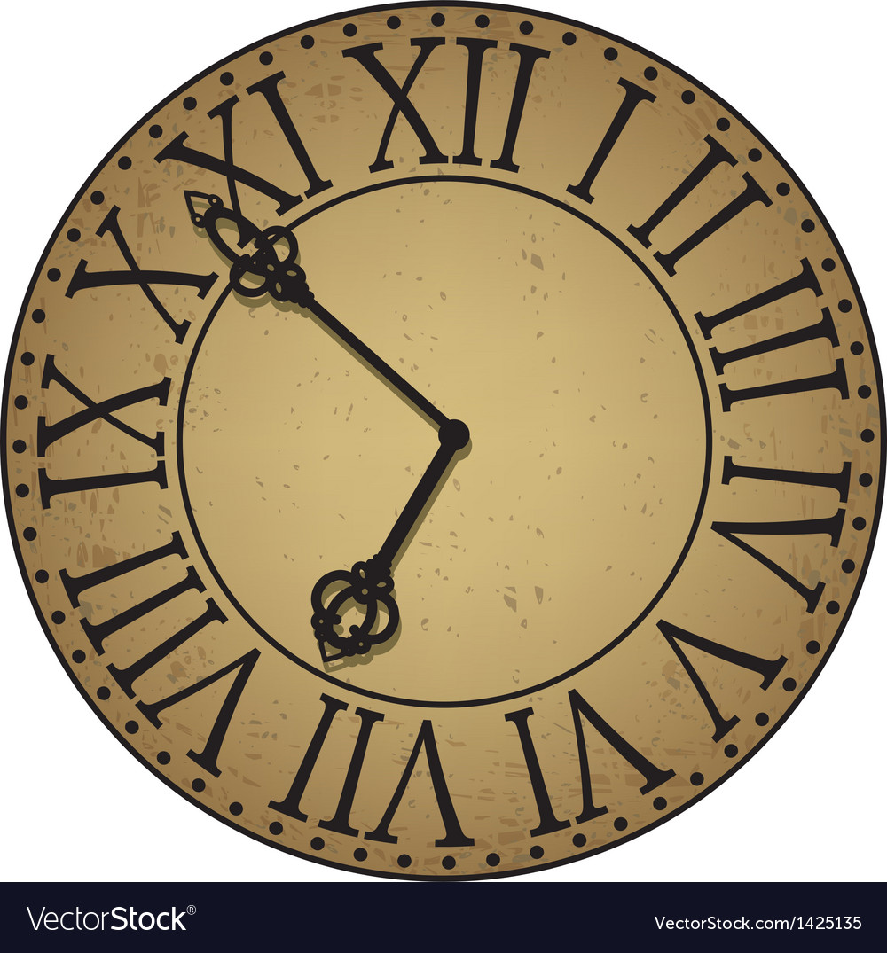 Antique clock face vector | Price: 1 Credit (USD $1)