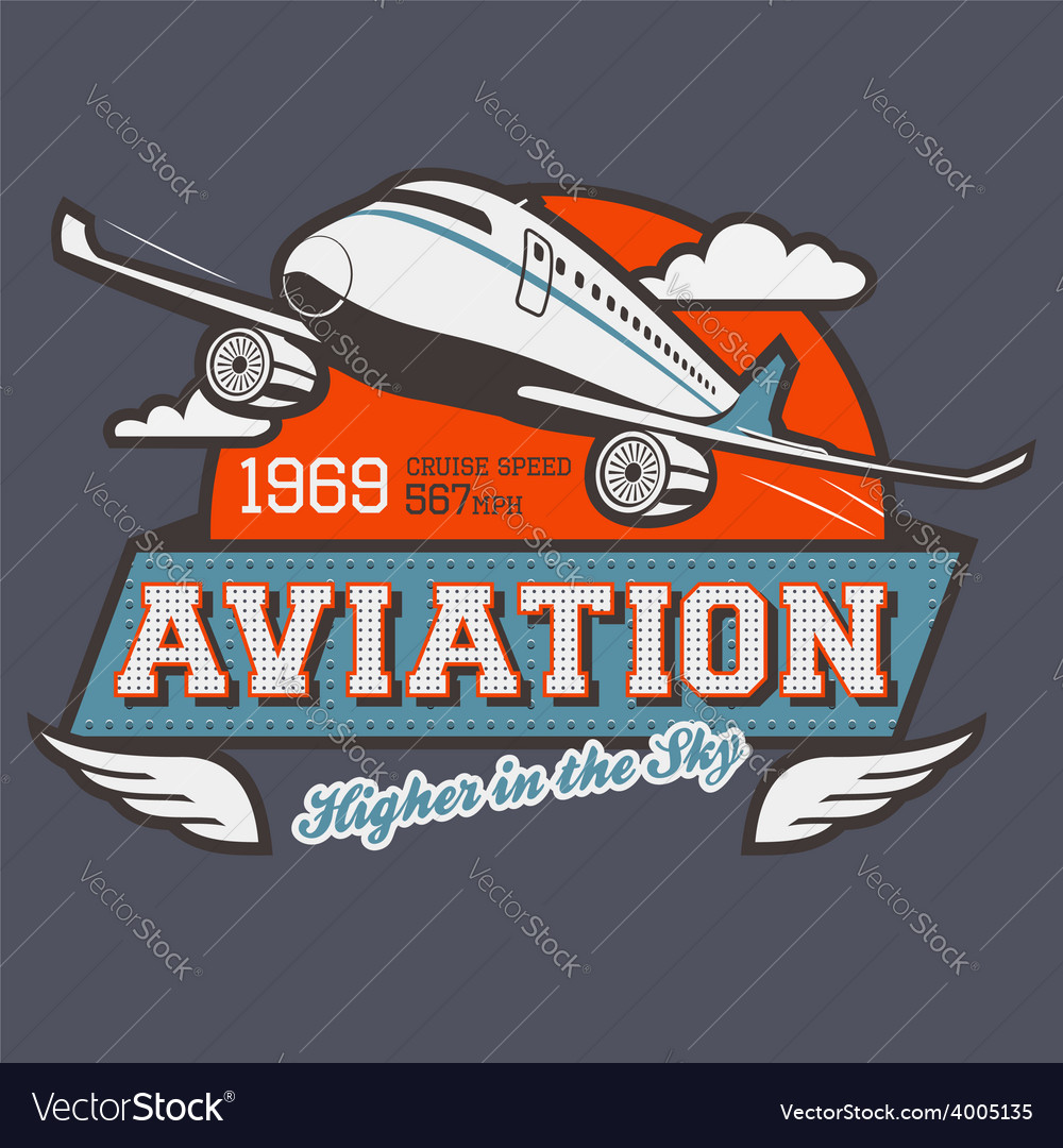 Aviation label t-shirt vector | Price: 1 Credit (USD $1)