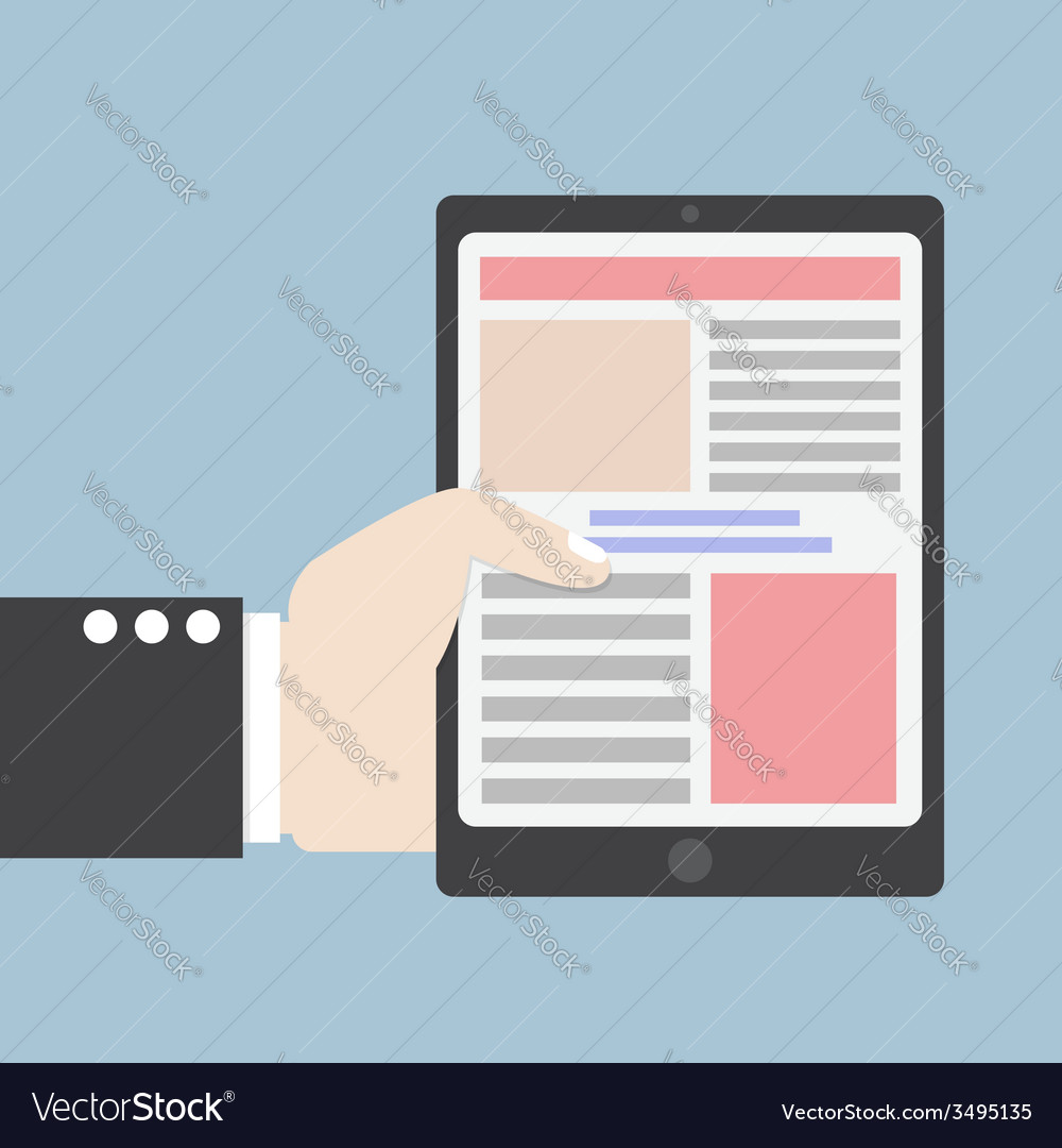 Businessman hand holding tablet computer vector | Price: 1 Credit (USD $1)