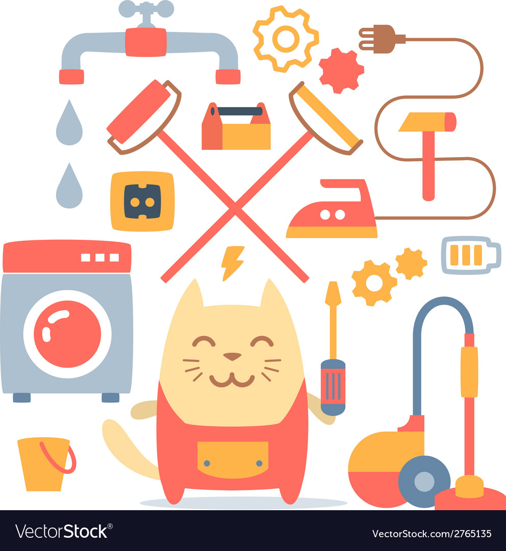 Character home handyman in uniform colorful flat vector | Price: 1 Credit (USD $1)